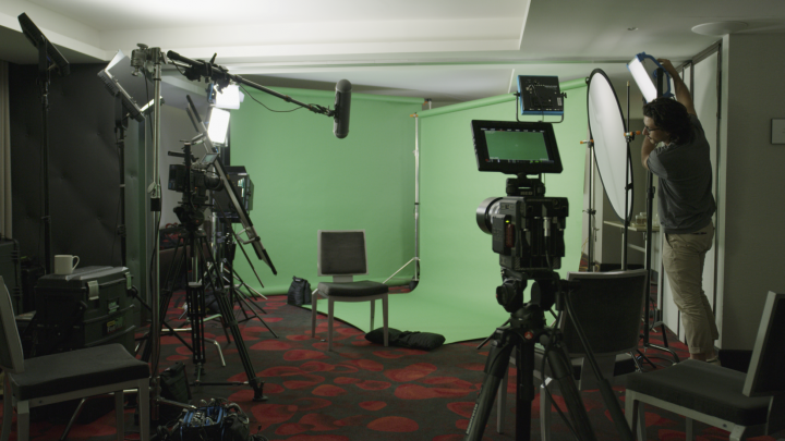 We converted a meeting room at the Watergate Hotel into our interview studio for the day